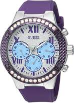 GUESS GUESS? Women's U0772L5 Sporty Silver-Tone Watch with Silver Dial , Crystal-Accented Bezel and Silicone Strap Buckle