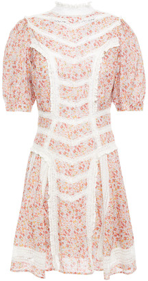 By Ti Mo Lace-trimmed Floral-print Cotton-mousseline Mini Dress