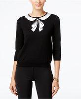 CeCe Bow Graphic Intarsia Sweater