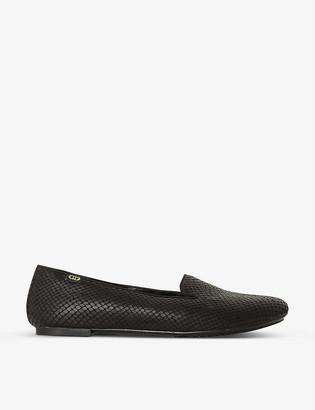 Dune Grazie snakeskin-embossed woven loafers