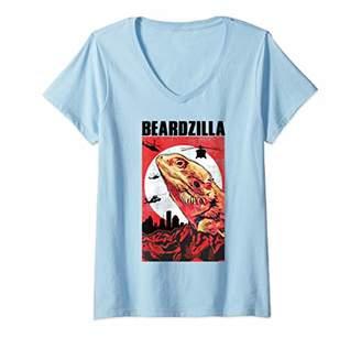 Dragon Optical Womens NEW Beardzilla Funny Bearded V-Neck T-Shirt