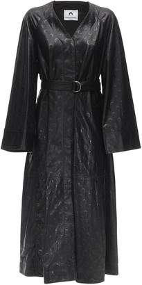Marine Serre Maxi Moon Embossed Leather Trench Coat