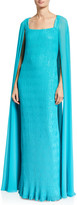 Badgley Mischka Couture Caped Sequined Gown