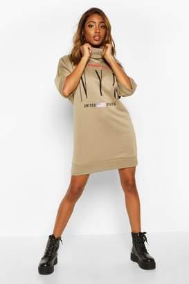 boohoo Slogan 3/4 Sleeve Roll Neck Sweatshirt Dress