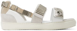 Toga Pulla White Buckles Flat Sandals
