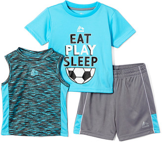 Rbx RBX Boys' Active Shorts TURQUOISE - Turquoise 'Eat, Play, Sleep' Soccer Performance Tee Set - Infant & Toddler
