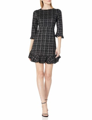 Nanette Lepore Nanette Women's 3/4 Fit and Flare Dress with Flounce Panels at Sleeves and Hem