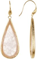Rivka Friedman 18K Gold Clad Rose Quartz Slice Teardrop Earrings