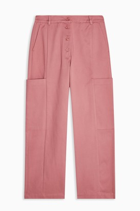 Selected Womens Rose Pink Leather Tapered Trousers By Dusty Rose