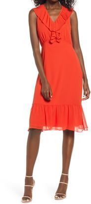 Sam Edelman Pleat Neck Sleeveless Ruffle Dress