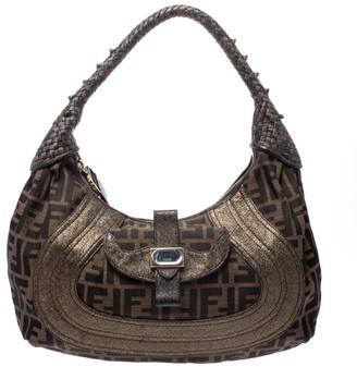 Fendi Brown/Metallic Zucca Canvas and Leather Spy Hobo