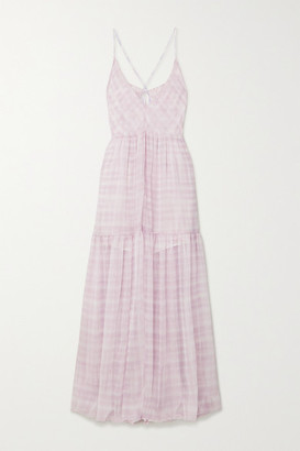 Jacquemus Mistral Cutout Checked Chiffon Maxi Dress - Lilac
