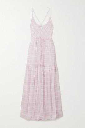 Jacquemus Mistral Cutout Checked Chiffon Maxi Dress