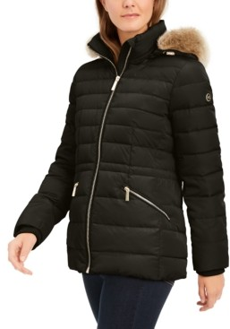 Michael Kors Michael Faux-Fur-Trim Hooded Down Puffer Coat