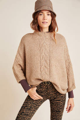 Anthropologie Mya Cable-Knit Poncho Sweater