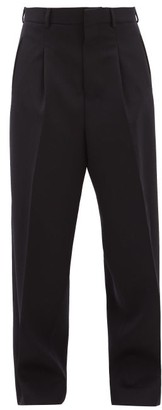 Ami Wide-leg Pleated Wool-twill Trousers - Womens - Navy