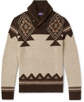 Ralph Lauren Purple Label Slim-Fit Shawl-Collar Intarsia Silk And Cashmere-Blend Sweater