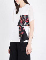 Izzue Floral-panel cotton T-shirt