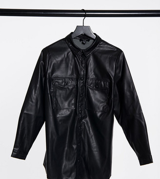 New Look Plus New Look Curve utility leather look shacket in black