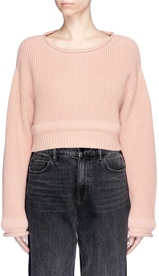 Alexander Wang Wide neck chunky trim cropped sweater
