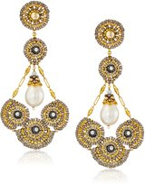 Miguel Ases Fresh Water Pearl 14k Gold Filled Cluster Circle Earrings