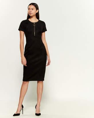 Calvin Klein Short Sleeve Ring Zip-Front Sheath Dress