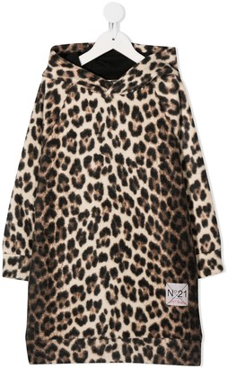 No21 Kids Leopard-Print Hooded Dress