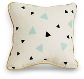 Nobodinoz Cotton cushion with black and green triangles