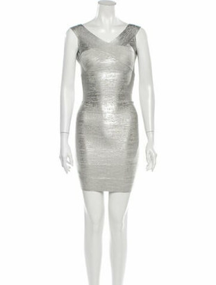 Herve Leger 2020 Mini Dress w/ Tags Silver