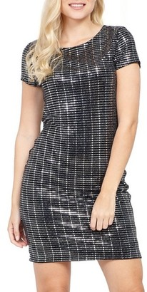 Dorothy Perkins Womens Izabel London Silver Embellished Shift Dress, Silver