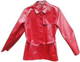Burberry Red Leather Jackets