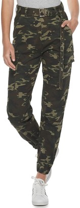 Almost Famous Juniors' Twill Belted Jogger
