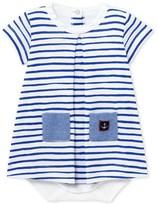 Petit Bateau Baby girl decorative striped bodysuit dress
