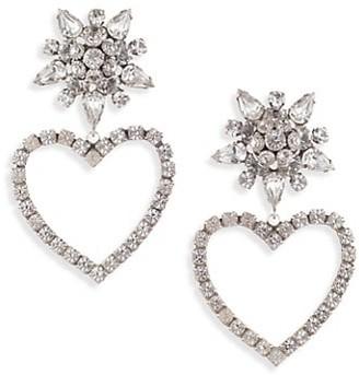 Dannijo Rhodium-Plated & Swarovski Crystal Heart Drop Earrings