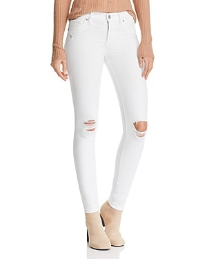 Hudson Nico Destructed Ankle Skinny Jeans in White Rapids