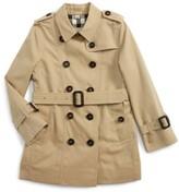 Burberry Girl's Sandringham Double Breasted Trench Coat
