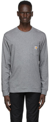 Carhartt Work In Progress Grey Pocket Long Sleeve T-Shirt