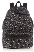 Saint Laurent Leather-trimmed Car-print Canvas Backpack