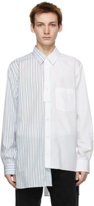 Lanvin White and Blue Asymmetrical Patchwork Shirt