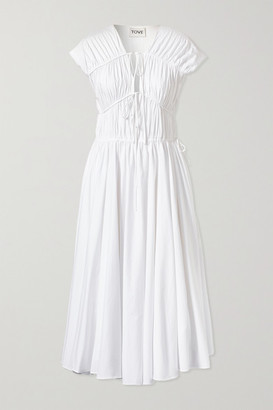 TOVE Ceres Gathered Organic Cotton-poplin Midi Dress - White