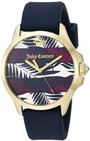 Juicy Couture Women's 'JETSETTER' Quartz Gold-Tone and Silicone Casual Watch, Color:Blue (Model: 1901597)