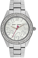 Betsey Johnson Boxed Double-Row Crystal Silver Bracelet Watch