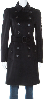Burberry Black Cashmere Double Breasted Trench Coat S