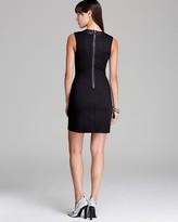 Aqua Dress - Ponte Faux Leather Inset