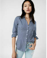 Express stripe y-neck ultimate essential shirt