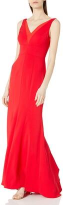 Carmen Marc Valvo Women's Deep V Neck Gown