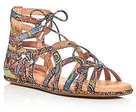 Kenneth Cole Gentle Souls By Gentle Souls Break My Heart Metallic Snake Embossed Gladiator Sandals