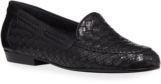 Sesto Meucci Nellie Woven Perforated Leather Loafer