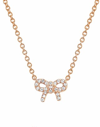Ef Collection Diamond Mini Bow Necklace