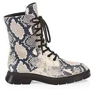 Stuart Weitzman Women's McKenzee Python-Embossed Leather Combat Boots